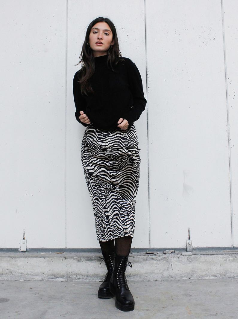 Zebra Velvet Midi Skirt