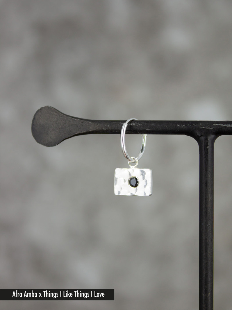 Hammered Square Earring Silver
