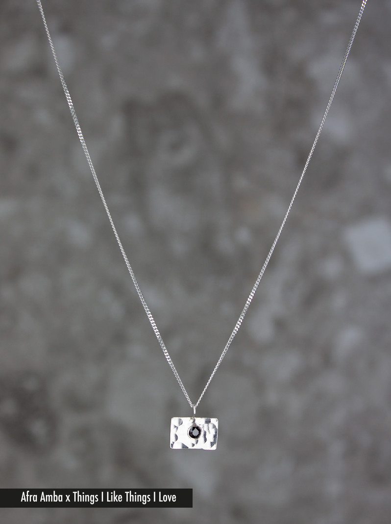 Hammered Square Necklace Silver