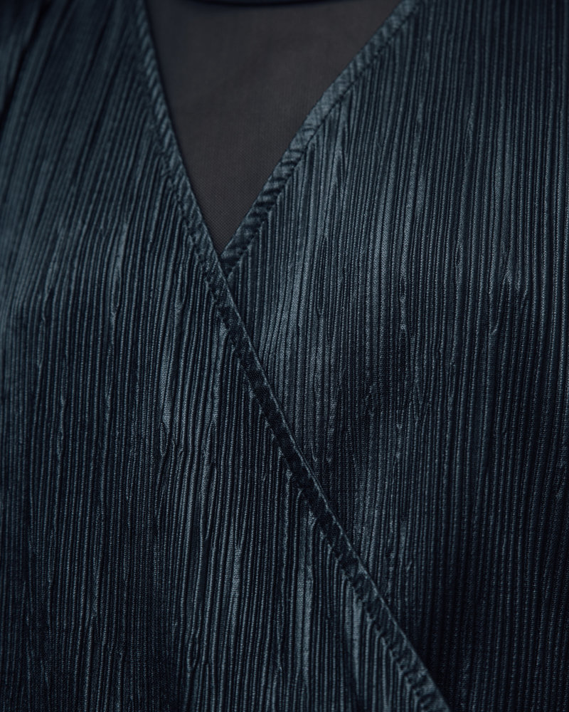 Wrap Front Plisse Batwing Sleeve Blouse