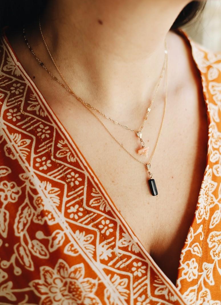 Goldfilled Necklace Charm Big Onyx
