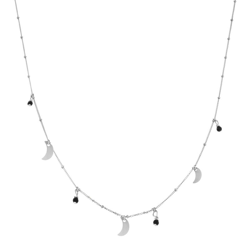 Galaxy Moon Onyx Necklace Silver