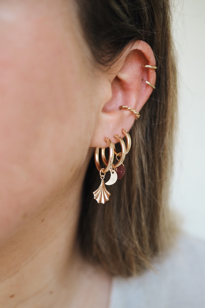 Earring Charm Moon Goldfilled