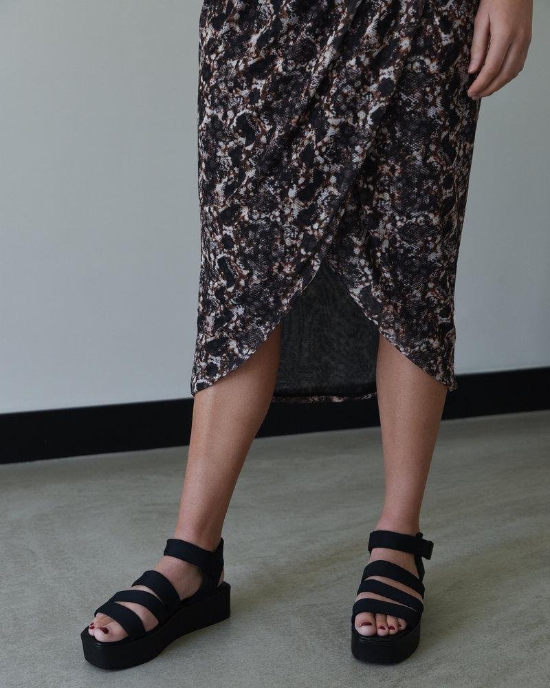 Printed Overlap Mesh Skirt Snake