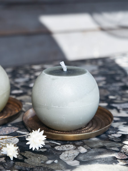 Rustik lys Large  In- And Outdoor Candle Round Grey