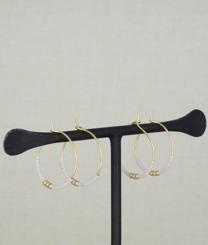 Beaded Hoop Beige/Gold