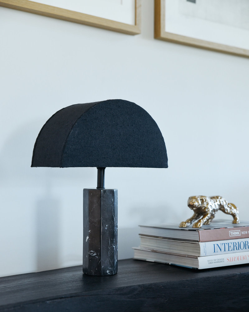 Table Lamp Black Marble + Shade