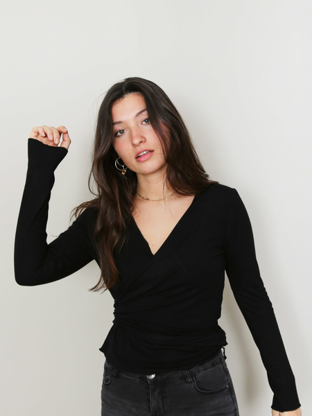 Things I Like Things I Love Willy Wrap Top Black One Size