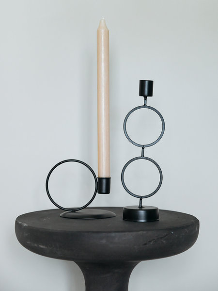 B&B Trend Company Two Circles Candle Holder Black