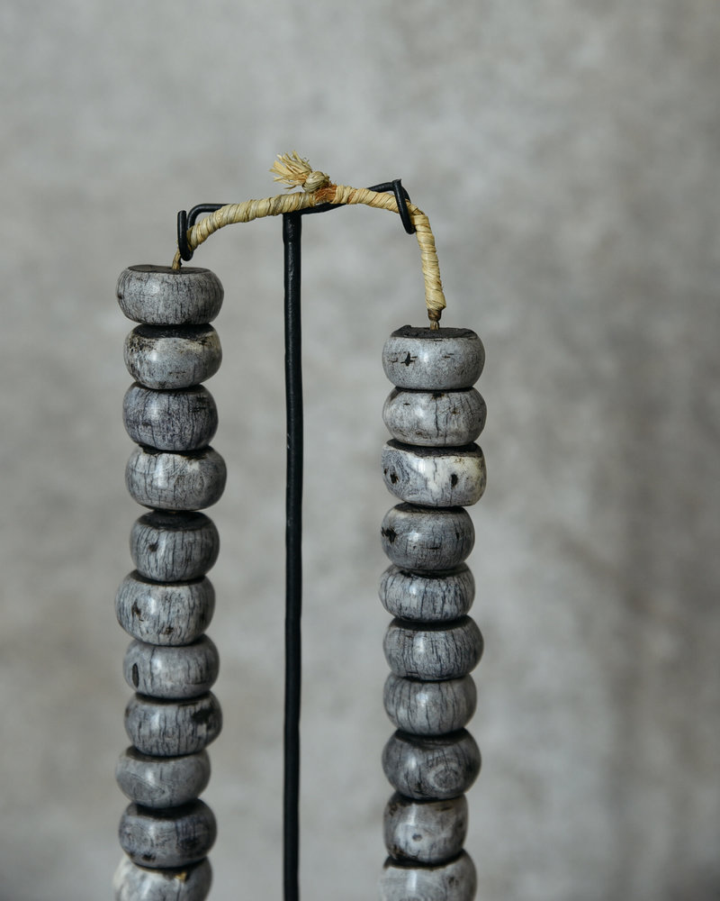 African Necklace Bone Beads Round Grey