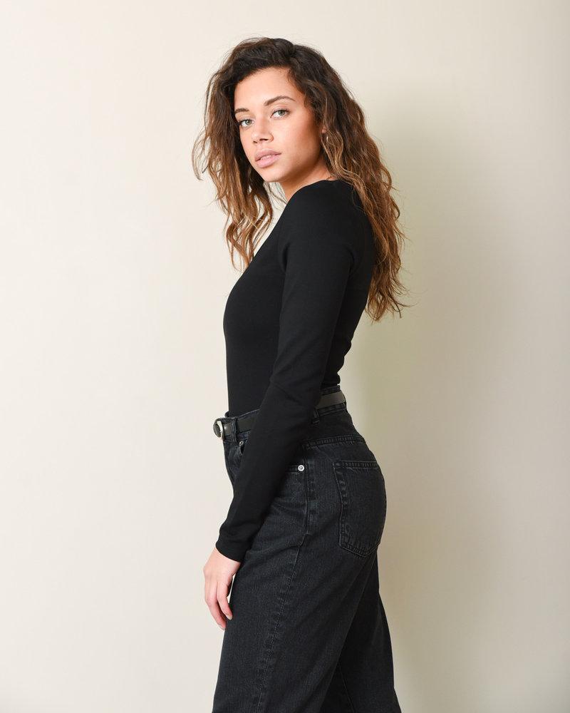 Power Shoulder Bodysuit Black