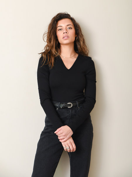 NAKD Power Shoulder Bodysuit Black