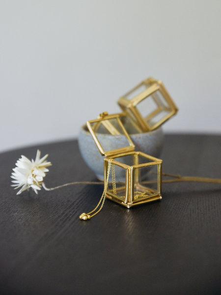 Madam Stoltz Tiny Glass Box Brass