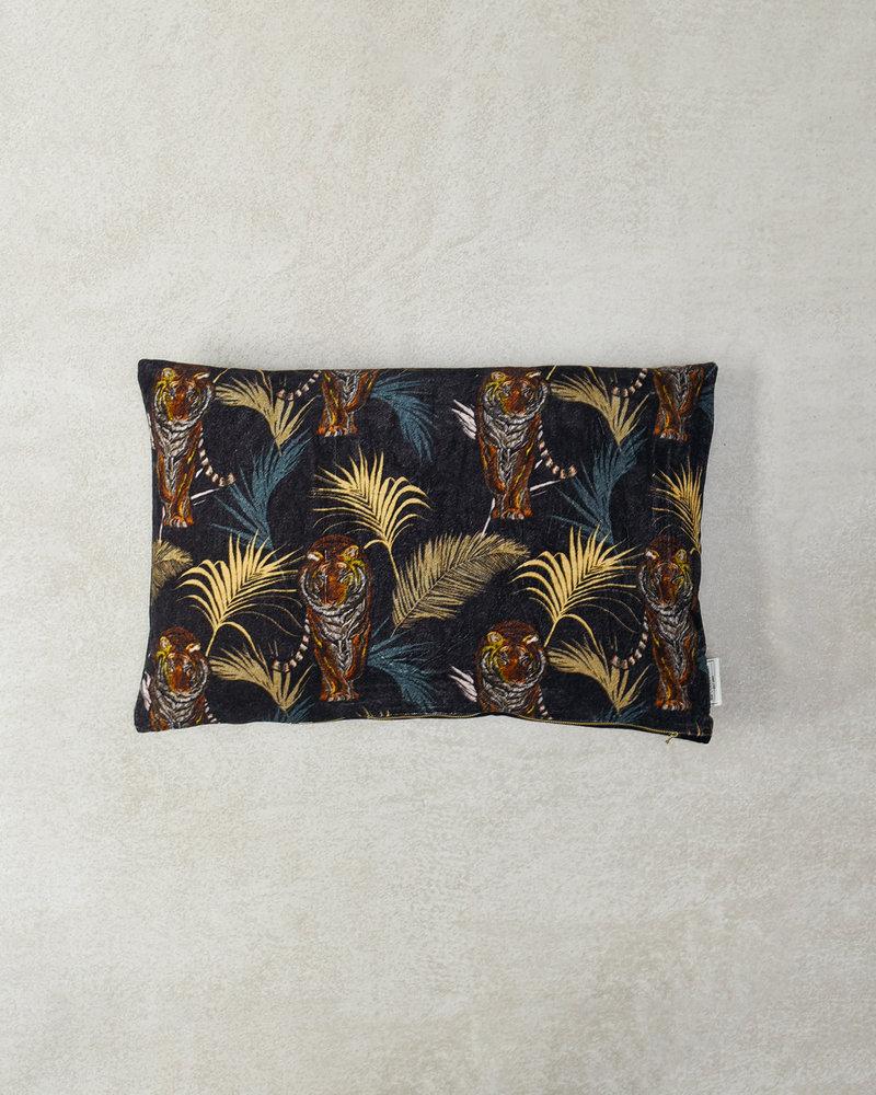Tiger Cushion Black Velvet