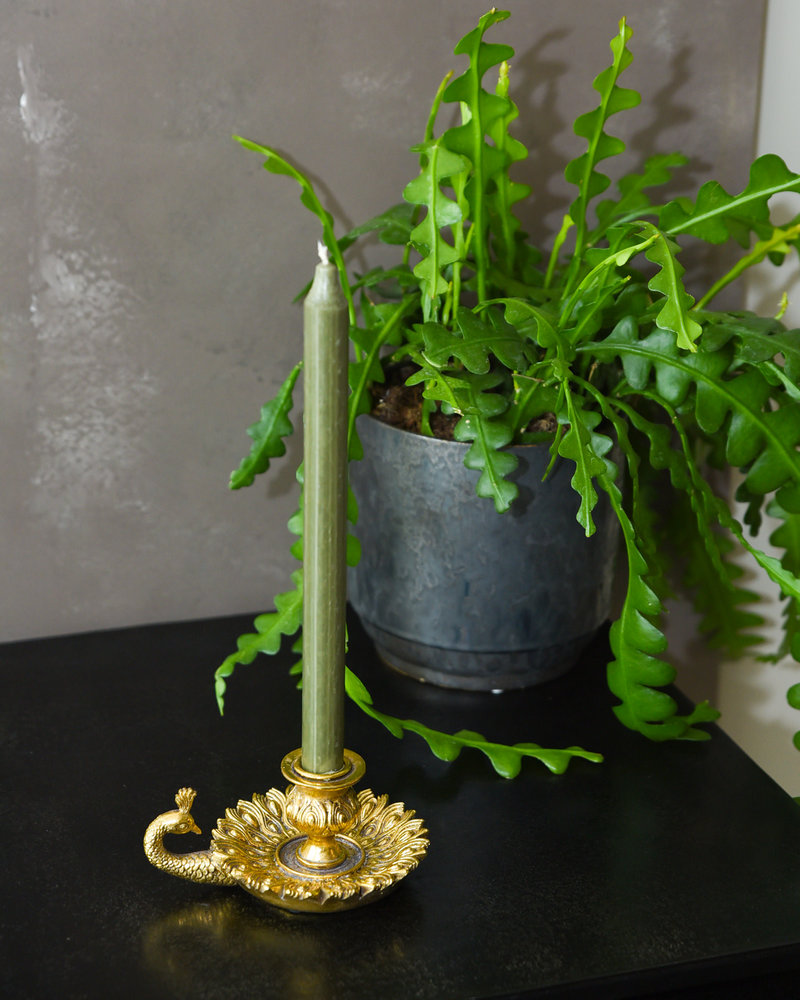 Peacock Candle Holder Brass