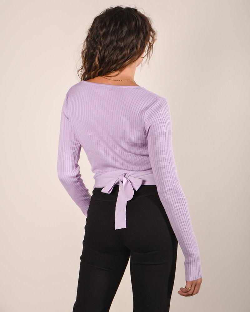 Jenna Knitted Wrap Top Lila