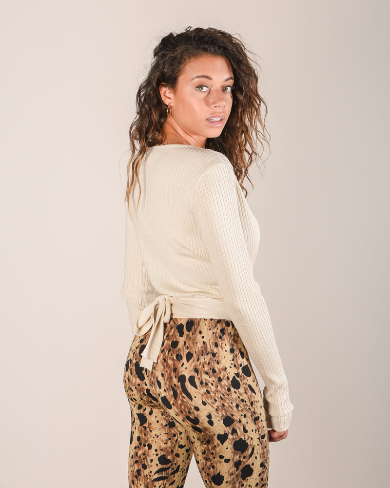 Jenna Knitted Wrap Top Cream