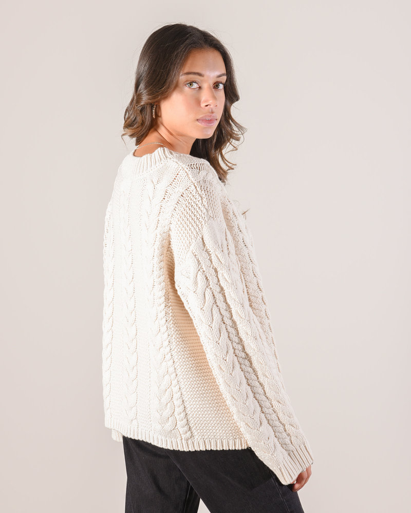 Cable Knitted Sweater Off White