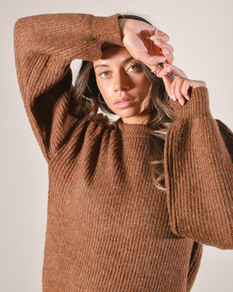 Crew Neck Sweater Brown Melange