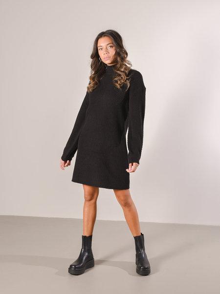 Noisy May High Neck Short Knit Dress Black