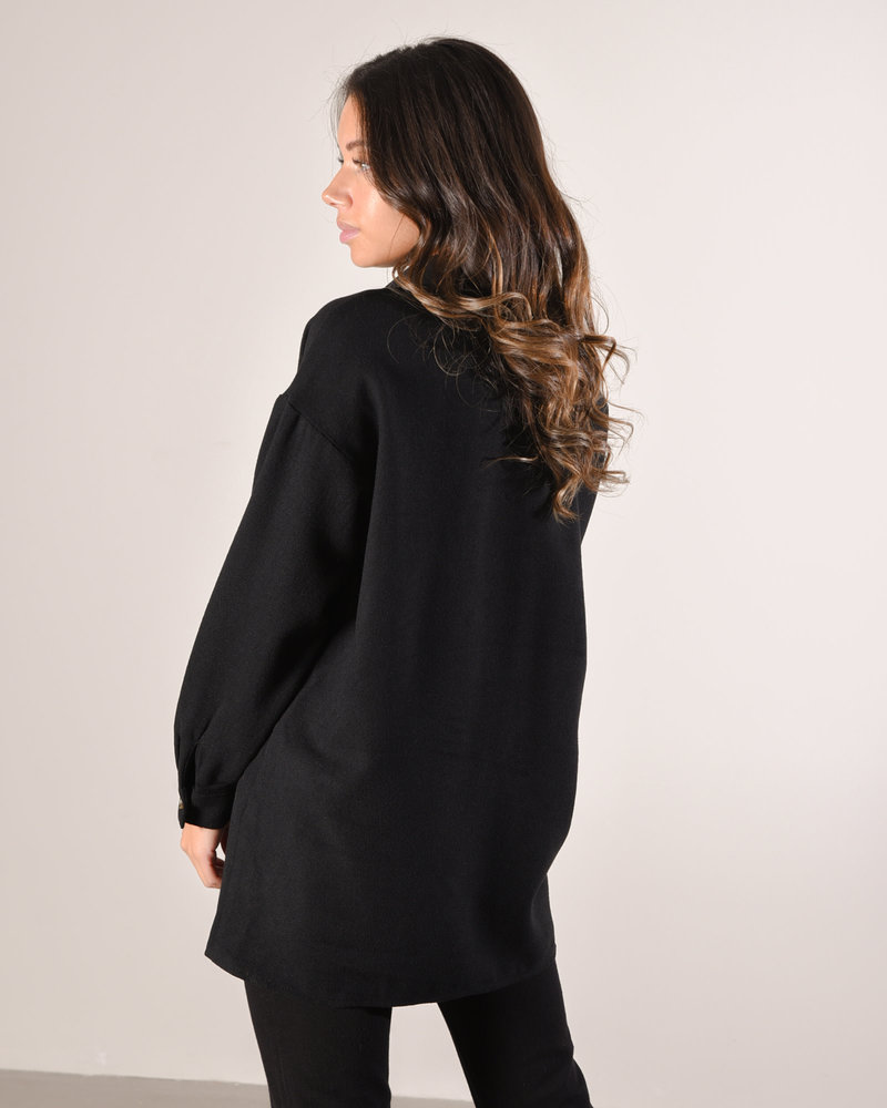 Flanny Long Shacket Black
