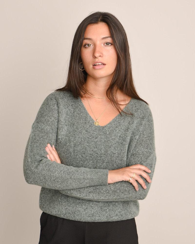 MSCH Femme Mohair V-Neck Pullover Chinios Green Melange