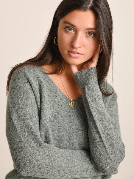 MSCH MSCH Femme Mohair V-Neck Pullover Chinios Green Melange