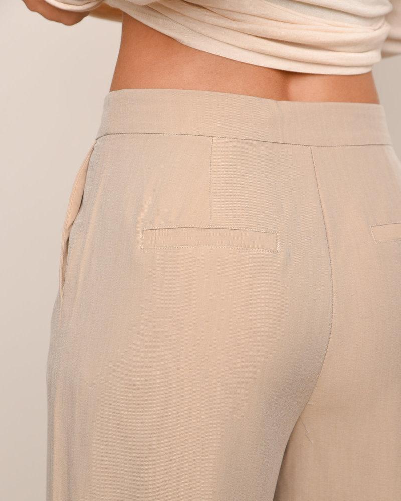 Oversize Front Slit Suit Pants Beige
