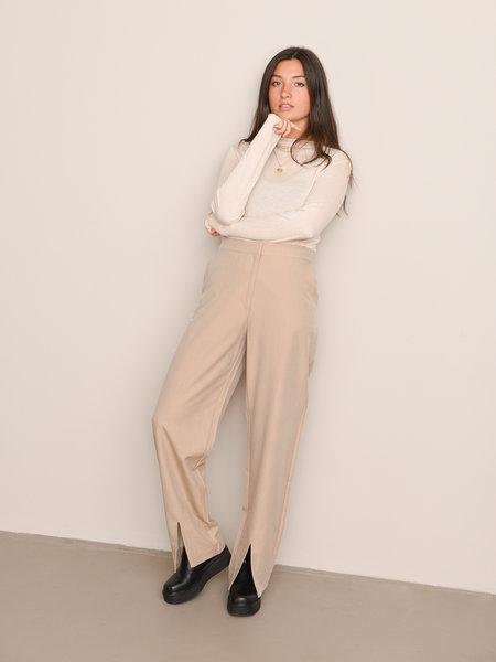 NAKD Oversize Front Slit Suit Pants Beige