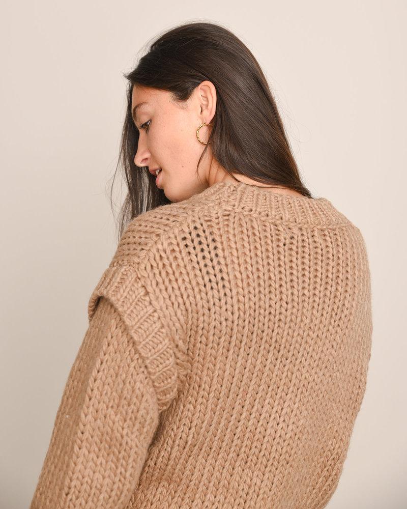Wool Blend Shoulder Detail Knitted Sweater Nougat