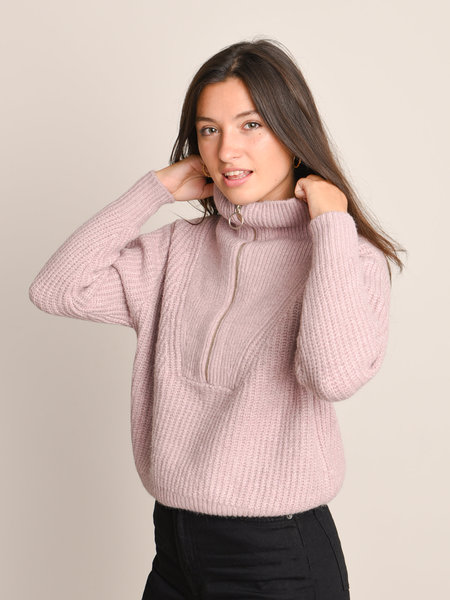 YAS Zip Knit Pullover Woodrose