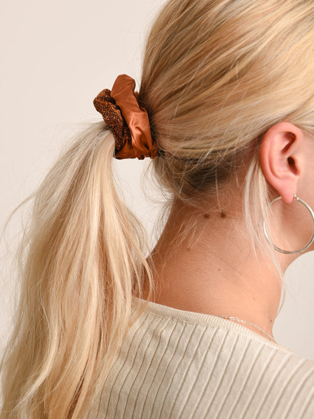 Yehwang Scrunchie Set Brown Rust Glitter