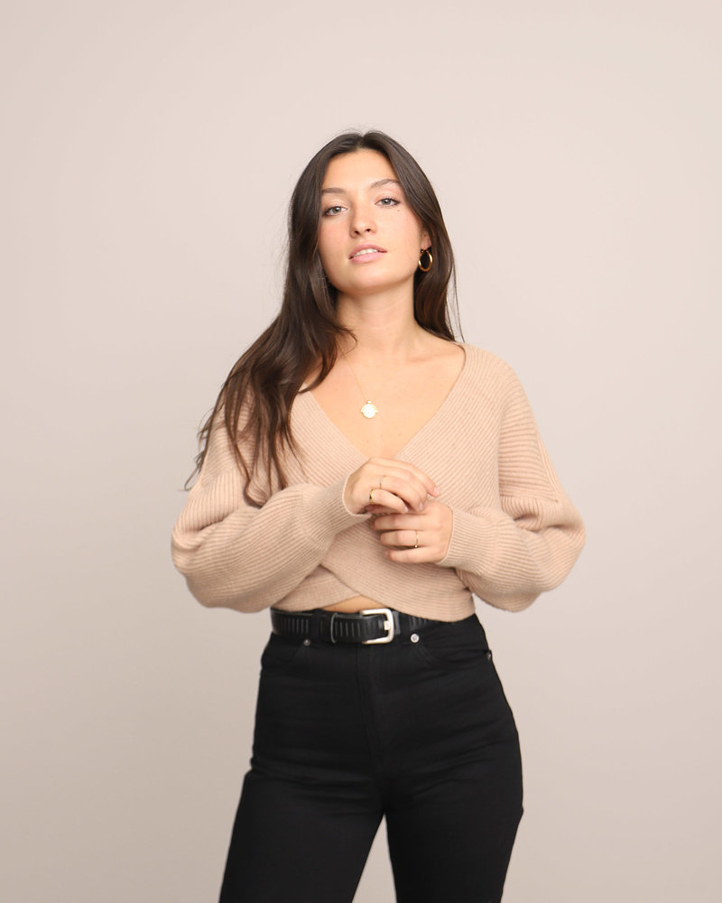 Rosan Wrapped Knitted Top Beige One Size
