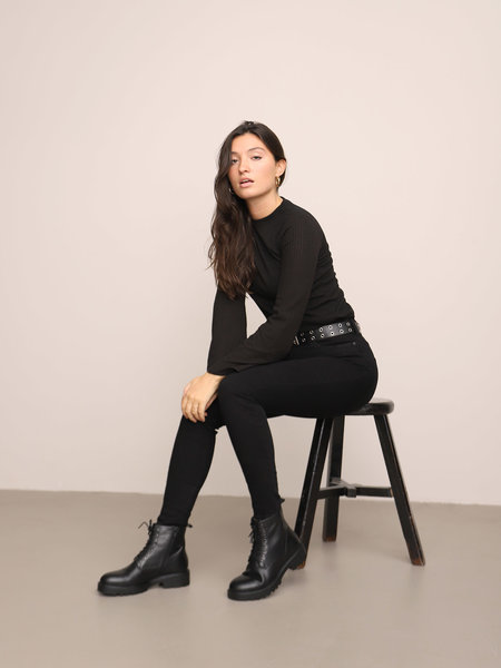 Vagabond Kenova Black Leather Lace-Up Boots