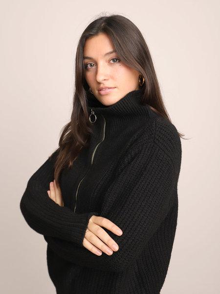 YAS Marilyn Zip Knit Pullover Black