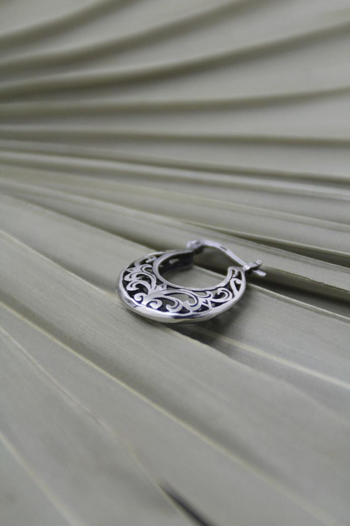 Baroque Silver Hoop
