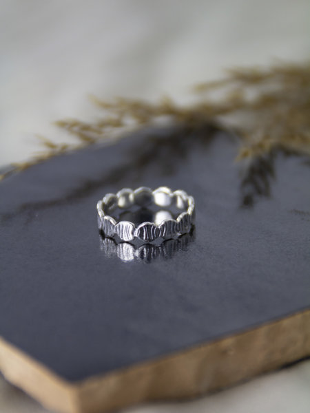 Things I Like Things I Love Around Stripes Silver Ring