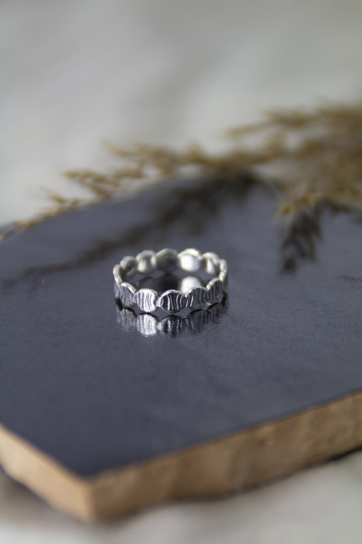 Around Stripes Silver Ring