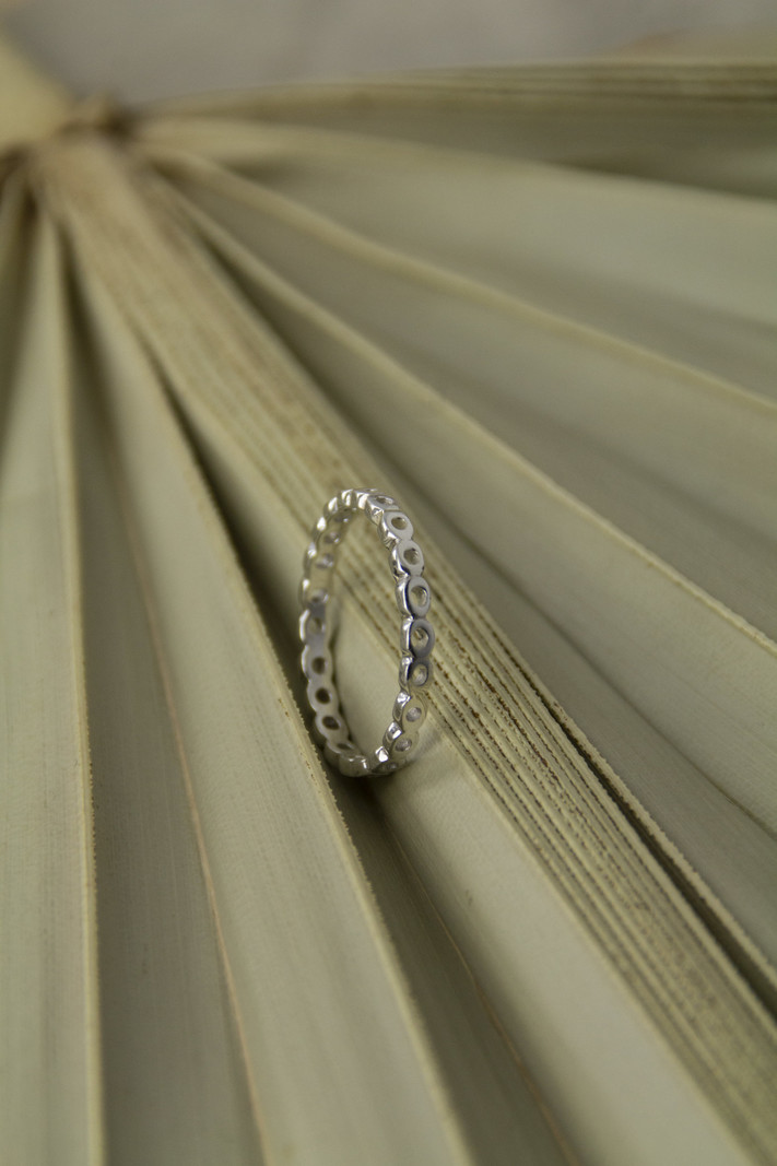 Round Holes Silver Ring