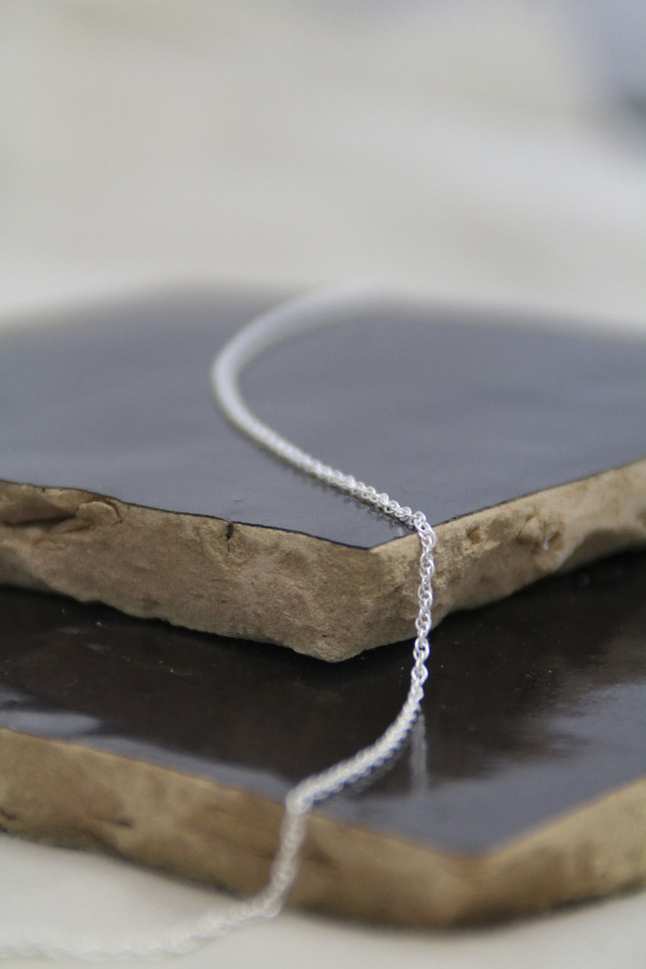 Double Twisted Necklace Silver 45 CM