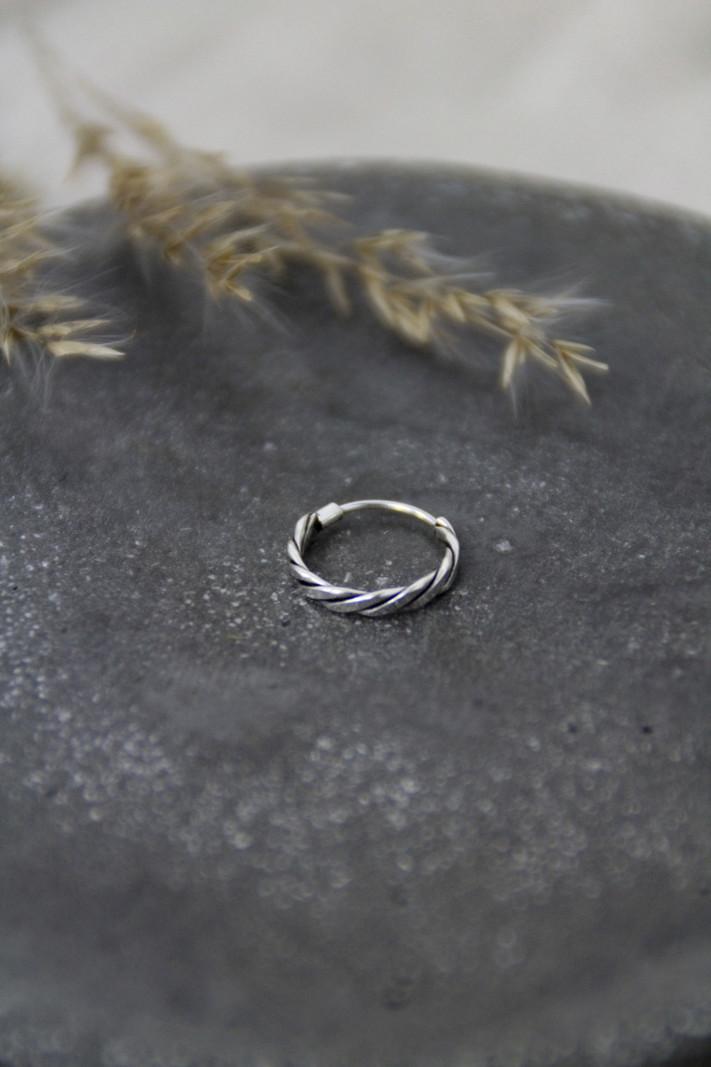 Tiny Wicker Silver Hoop 10mm