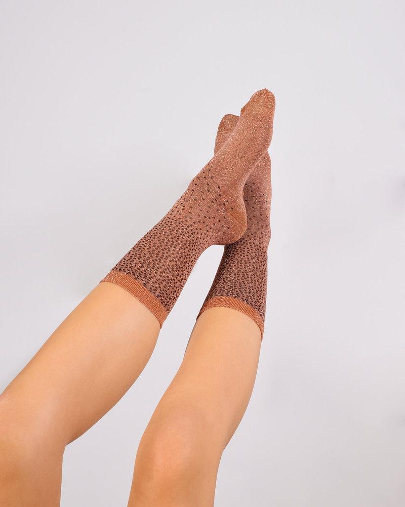 Glitter Socks Rust Dot