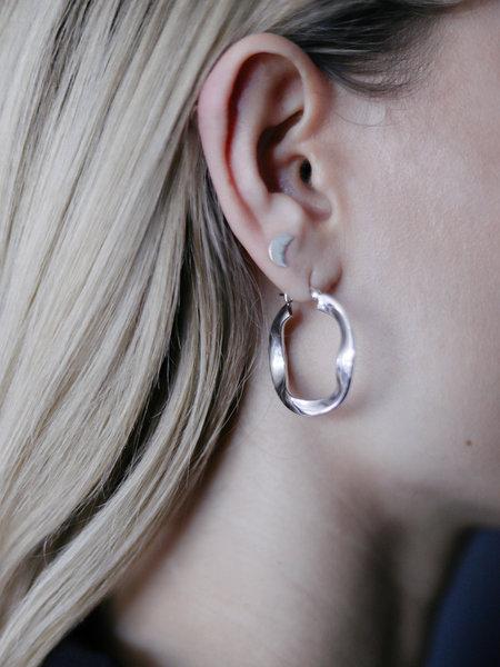 Things I Like Things I Love Swirl Silver Hoop