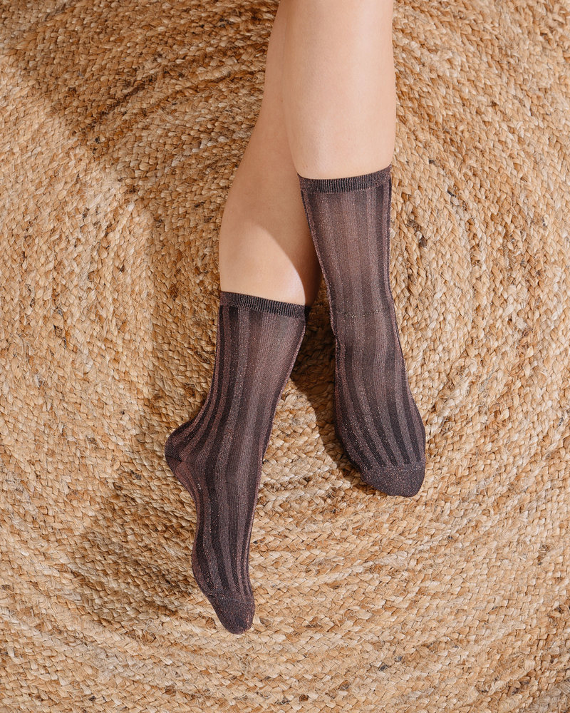Glitter Socks Copper Striped