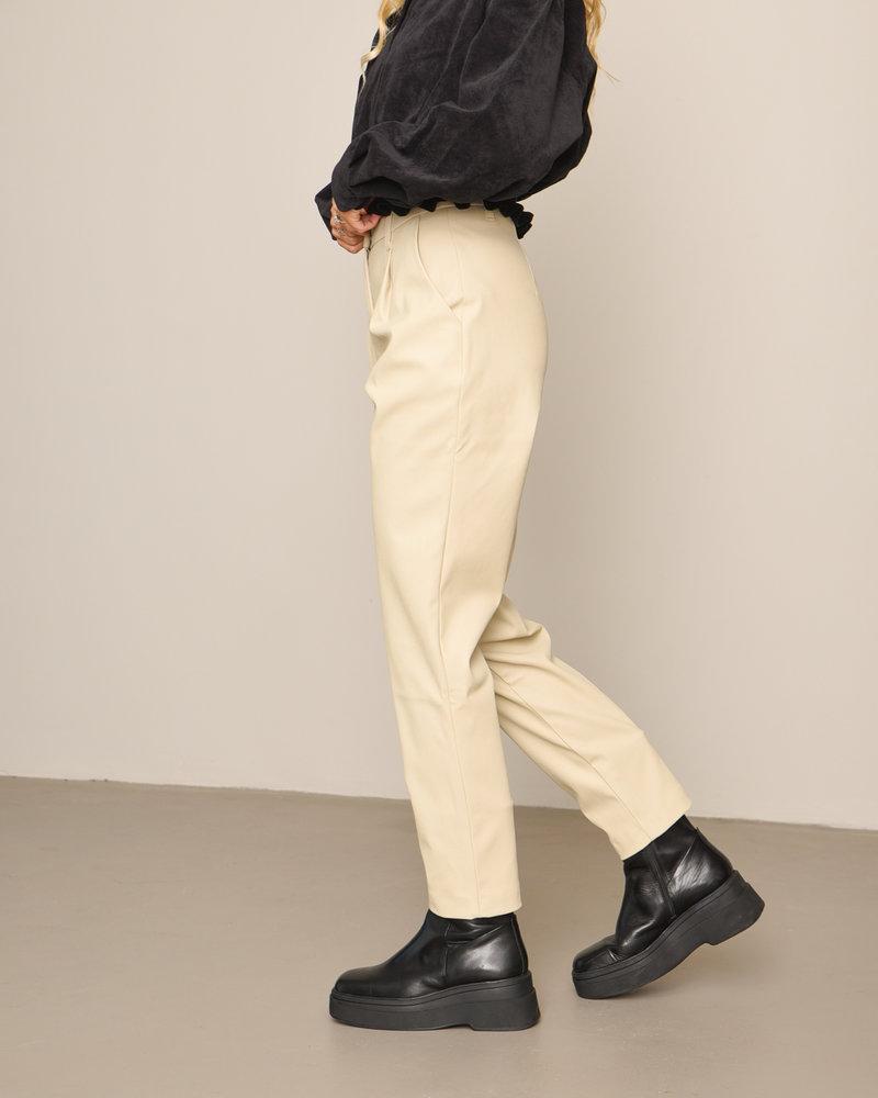 Tapered PU Pants Beige