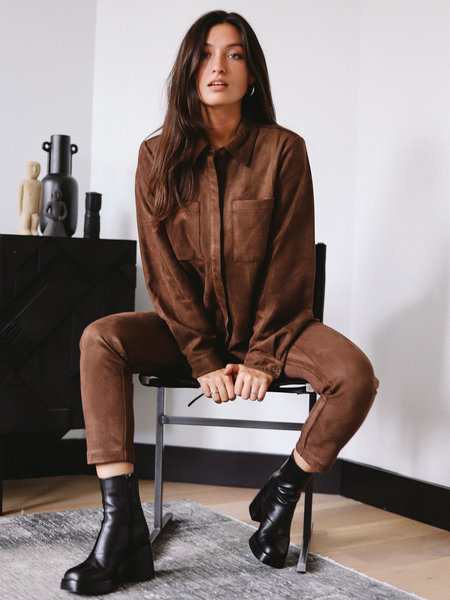 NAKD Faux Suede Shirt Brown
