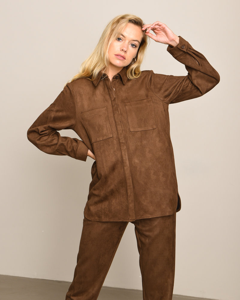 Faux Suede Shirt Brown