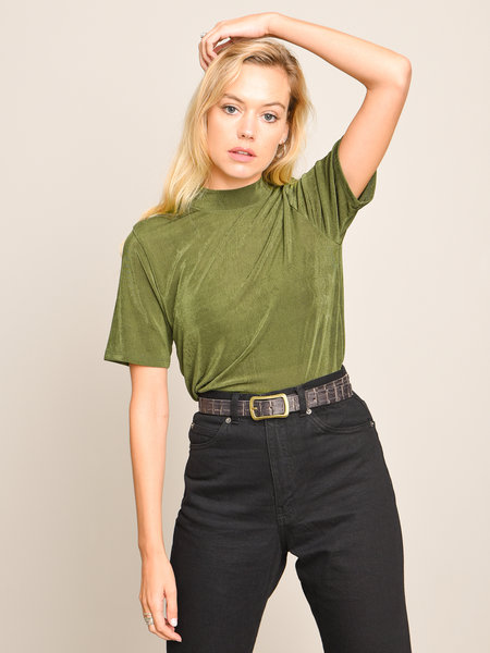Things I Like Things I Love TILTIL Shimmy High Neck Top Green