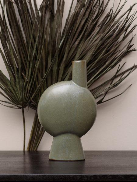 Madam Stoltz Stoneware Vase Round Green