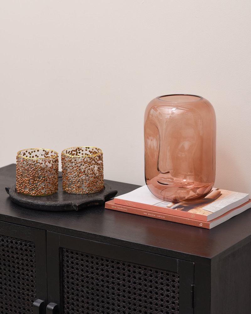 Vase Brown Face Glass